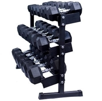 Dumbbell Package 5 lb to 50 lb Hex with Three Tier Dumbbell Rack