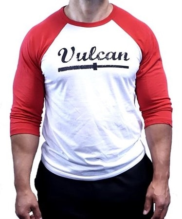 Vulcan Abused Barbell Baseball Tee- Red