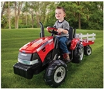 Case IH Tractor with Stake-Side Trailer Battery Operated