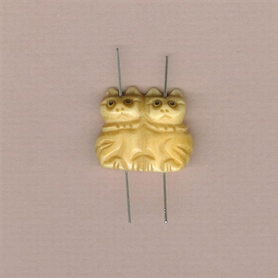 Kitty Companions Bead - Hand Carved Bone