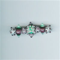 7 Am Lampwork Beads - Peppermint