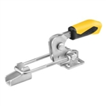 557284 Hook type toggle clamp horizontal with safety latch. Size 4, yellow.