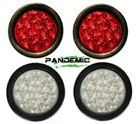 "Universal 4"" RED or CLEAR LENSE LED TAIL LIGHTS - Includes 2 lights with SUPER BRIGHT red LED's, and Rubber Grommet Flanges - DOT APPROVED STOP / TURN /TAIL LIGHTS"