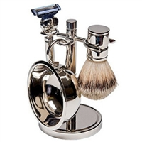 4 Piece  Silver Plated Shave Set