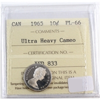 1965 Canada 10-cent ICCS Certified PL-66 Ultra Heavy Cameo