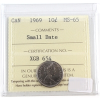 1969 Canada 10-cent ICCS Certified MS-65 Small Date