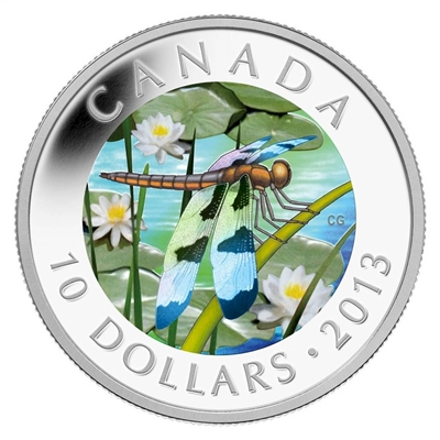2013 Canada $10 Dragonfly - Twelve Spotted Skimmer Fine Silver (No Tax)