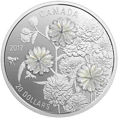 2017 Canada $20 Pearl Flowers Fine Silver (No Tax)