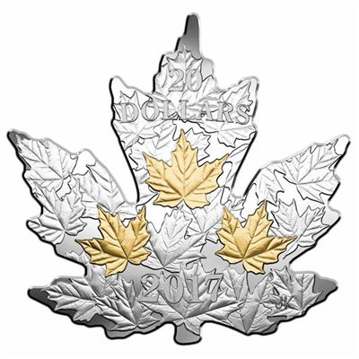 2017 Canada $20 Gilded Silver Maple Leaf Shaped Fine Silver Coin (No Tax)