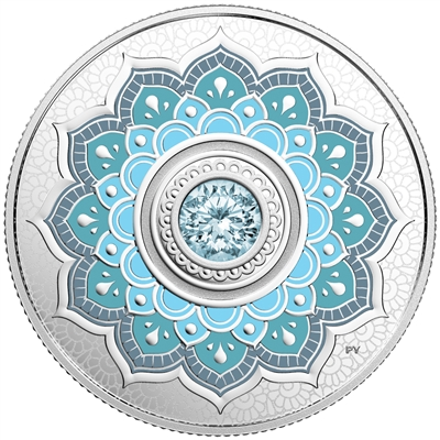 2018 Canada $5 Birthstone - March Fine Silver with Swarovski Crystal (TAX Exempt)