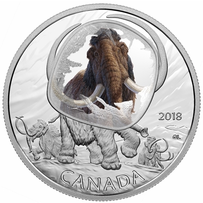 2018 Canada $20 Frozen in Ice - Woolly Mammoth Fine Silver Coin (TAX Exempt)