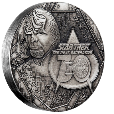 2017 Tuvalu $2 Star Trek - Lieutenant Commander Worf 2oz Silver Antiqued (No Tax)
