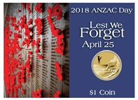 2018 Australia $1 ANZAC Day - Lest We Forget Coin in Card