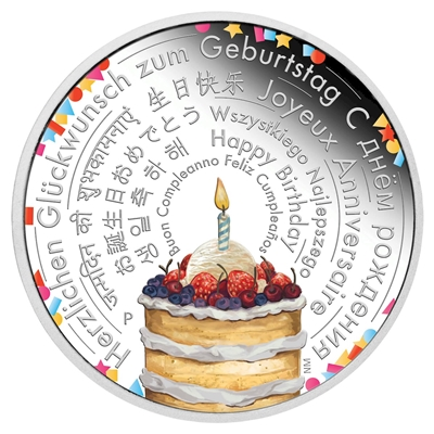 2018 Tuvalu $2 Birthday Wishes 2oz. .999 Silver Proof Coin (TAX Exempt)