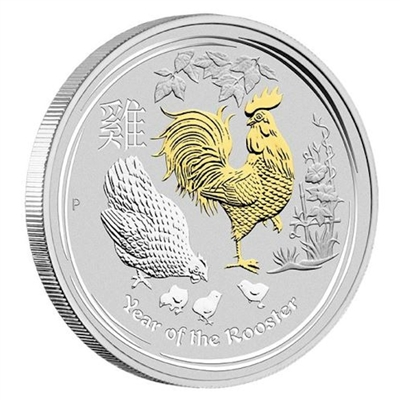 2017 Australia $1 Gilded Year of the Rooster Silver Proof (No Tax)