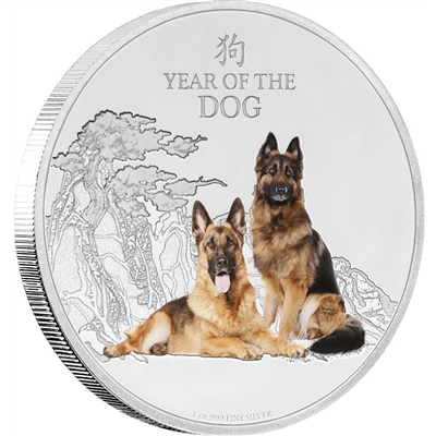 2018 Niue $2 Year of the Dog 1oz Fine Silver (No Tax)