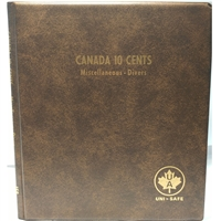 Ten Cents Canada Blank (5 pages) Unimaster brown vinyl coin binders.