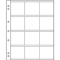 12 Pocket Page Sheet for 2x2 Coin Holders (Pack of 5 sheets) NH12K.
