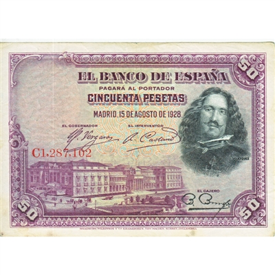 1928 Spain Paper Money 50 Pesetas, VF