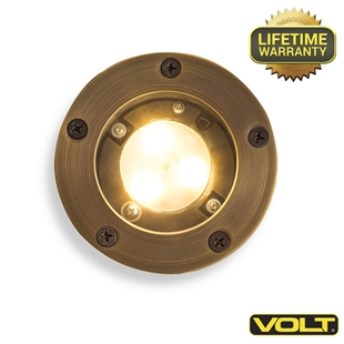 Brass Bully Open Integrated LED Well Light | Low Voltage Landscape Lighting