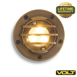 Brass Bully Louvered Integrated LED Well Light | Low Voltage Landscape Lighting