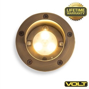 Brass Bully Shielded Integrated LED Well Light | Low Voltage Landscape Lighting
