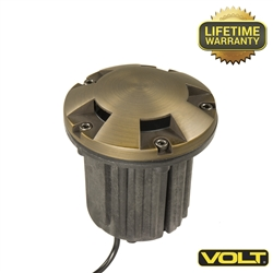 Brass Bully Turret Top MR16 Well Light | Low Voltage Landscape Lighting