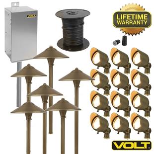 Brass lifetime led landscape lighting kit 12 spot 6 for Led garden lighting systems
