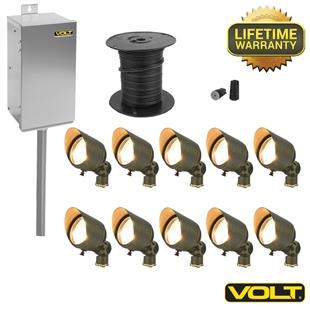 brass lifetime led landscape lighting kit 10 spot kit volt