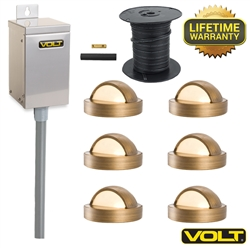 VOLT® Brass Lifetime LED Deck Light Kit | (6) Deck Lights