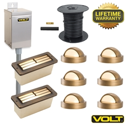 Brass Lifetime LED Deck & Step Light Kit | (6) Deck Lights & (2) Step Lights
