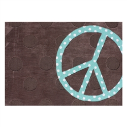 Peace Sign - Peace Dot 5 ft x 7 ft Hand Tufted Room Rug