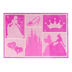 "Disney Princess silhouette 48"" x 70"" printed Polyester room rug"
