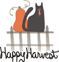 Happy Harvest with primitive cat stencil