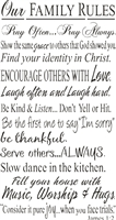 "Our Family Rules...Pray..Love...Laugh..Hugs 11.5 x 22"" Stencil"
