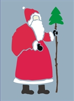 "Primitive Santa with Tree 4 x 6.5"" , Design"