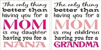 THE ONLY THING BETTER THAN HAVING YOU FOR A MOM....GRANDMA/NANA