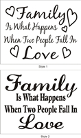 "Family Is What Happens When Two People Fall In Love 10 x 8"" Stencil"