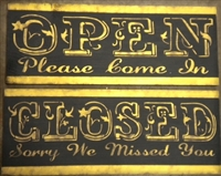 OPEN or CLOSED antique style Stencil 24 x 7.5""