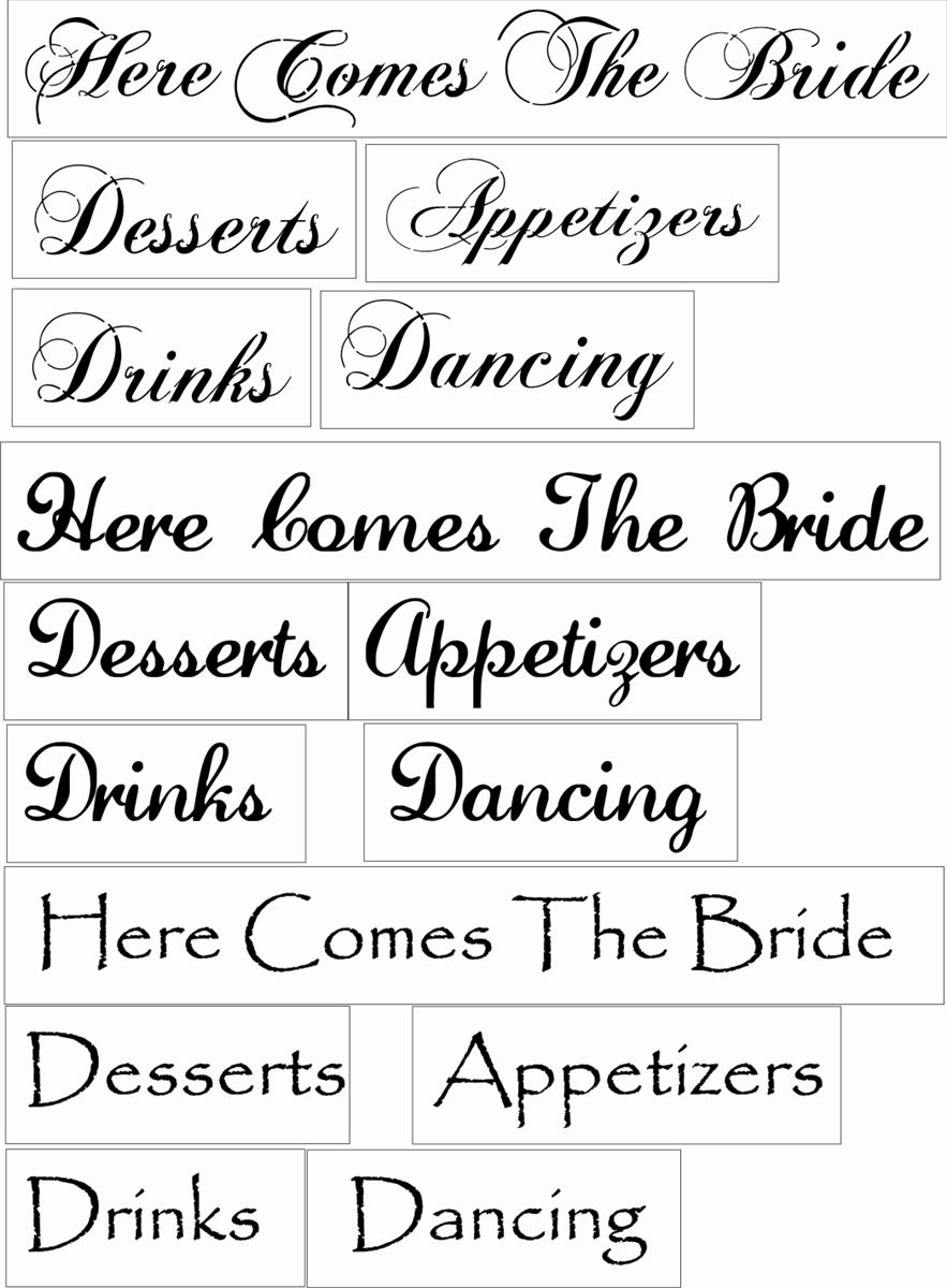 wedding words set 3 desserts drinks appetizers dancing