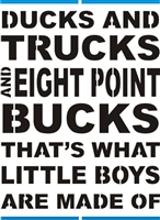 "Ducks And Trucks and Eight Point Bucks... 11.5 x 16"" Stencil"