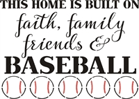 "This Home is Built On...Baseball 16 x 12"" stencil"