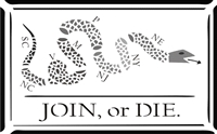 Join Or Die with Snake (by Benjamin Franklin) Two size choices