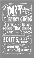 "Dry and Fancy Goods Coffee, Tea, Liquor, Cigars... 12 x 20"" Stencil"