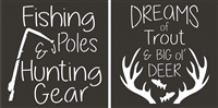 "Fishing Poles & Hunting Gear Dreams of Trout & Big Ol' Deer TWO 11.5 x 11.5"" Stencil"