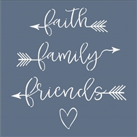 Faith Family Friends with arrows and heart graphic Stencil stencils graphics diy