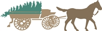 Horse and Wagon with Pine Tree Stencil -Two Size Choices