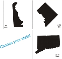 "Your choice of state graphic on 5 x 5"" stencil sheet"