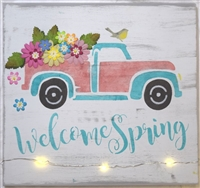 "Welcome Spring with Retro Truck and Flowers 12 x 9.5"" Stencil"
