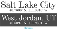 """Your City"" with Coordinates 24 x 5.5"" Custom Personalized Stencil"